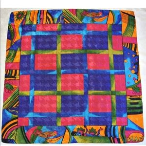 Accessories - Vintage Bright Colored Abstract Style Square Scarf
